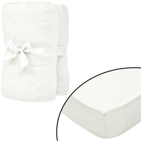 Sábana bajera cama de agua 1,8x2m algodón blanco crudo 2 uds