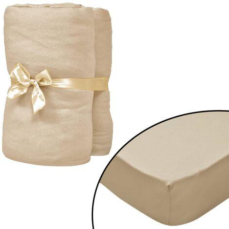 Sábana bajera para cama de agua 200x200 cm algodón beige 2 uds
