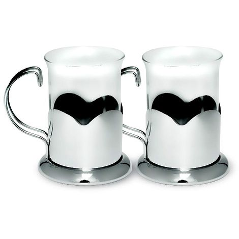 Sabichi Lotus Glass Coffee or Tea Mug Set - Silver - 2-Piece