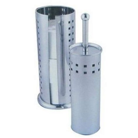 Sabichi Toilet Brush and Roll Holder Set - Stainless-Steel - Silver, 2-Piece