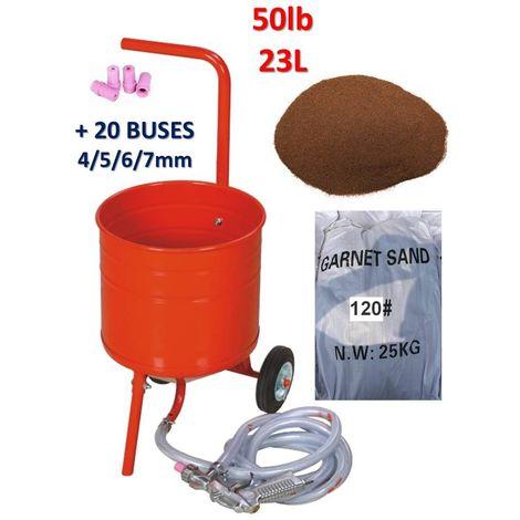 Sableuse mobile sur Roulettes 50lb 23L + 20 Buses + Sac 25kgs d'Abrasif Garnet Mesh 120A+