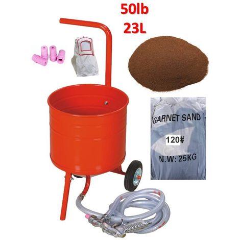 Sableuse mobile sur Roulettes 50lb 23L + Sac 25kgs d'Abrasif Garnet Mesh 120A+