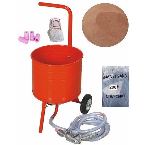 Sableuse mobile sur Roulettes 50lb 23L + Sac 25kgs d'Abrasif Garnet Mesh 200A+