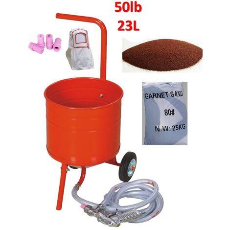 Sableuse mobile sur Roulettes 50lb 23L + Sac 25kgs d'Abrasif Garnet Mesh 80A+