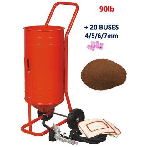 Sableuse mobile sur Roulettes 90lb 41L + 20 Buses + Sac 20kgs d'Abrasif Garnet Mesh 120A+