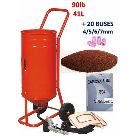 Sableuse mobile sur Roulettes 90lb 41L + 20 Buses + Sac 20kgs d'Abrasif Garnet Mesh 80A+
