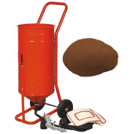 Sableuse mobile sur Roulettes 90lb 41L + Sac 20kgs d'Abrasif Garnet Mesh 120A+