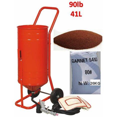 Sableuse mobile sur Roulettes 90lb 41L + Sac 20kgs d'Abrasif Garnet Mesh 80A+