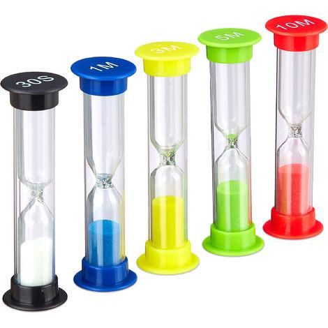 Sabliers lot de 5 pour enfants, Timer brossage des dents, Minuteur à thé, x 5 Horloges de sable, multicolore