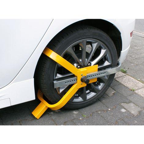 Sabot bloque roue antivol caravane voiture remorque sécurité griffe serrure pneu