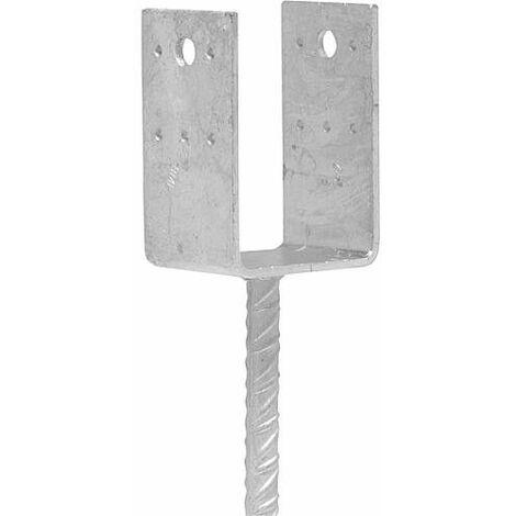 Sabot d'appui D D 90 x 90 avec barre a rainure 20 mm galvanise a chaud (tzn)