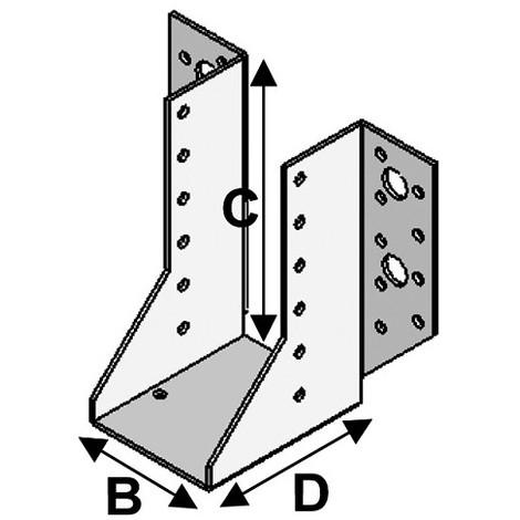Sabot de charpente à ailes extérieures (P x l x H x ép) 80 x 64 x 128 x 2,0 mm - AL-SE064128 - Alsafix - -