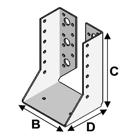 Sabot de charpente à ailes intérieures (P x l x H x ép) 70 x 64 x 128 x 2,0 mm - AL-SI064128 - Alsafix