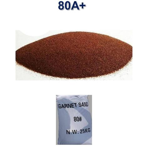 Sac 25 kg Sable Abrasif Garnet Mesh 80A+ pour Sableuse Sablage Aerogommage