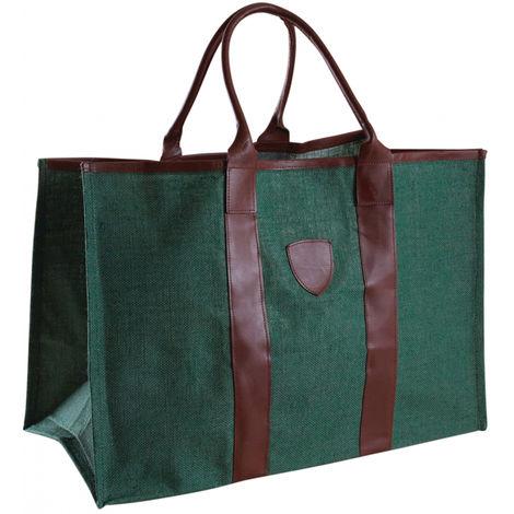 Sac à bûches en jute coloris vert - 60 x 30 x 40 cm -PEGANE-