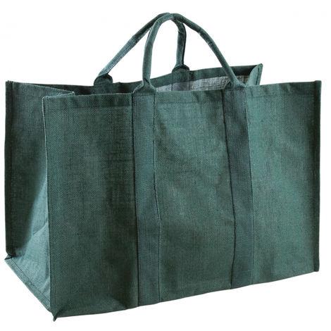 Sac à bûches en jute couleur vert - 60 x 30 x 40 cm -PEGANE-