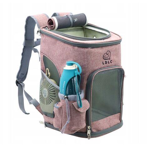 Sac à dos pour chien sac de transport pour chat sac de transport en tissu bandoulière sac à dos pour animaux de compagnie, convient aux petits chiens et chats-M gris clair