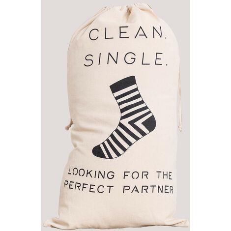 Sac à linge en coton Elif SKLUM Coton - Beige Crème