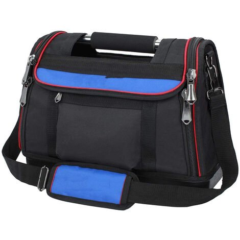 Sac à Outils 40 x 21 x 28 cm, Boîte à Outils Textile avec Fond Etanche, Sac Détachable, Double Zip Flexible, Charge Maximale 25 KG.