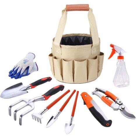 Sac à outils de jardinage sac en toile ensemble combiné pelle en alliage d'aluminium ciseaux de jardin sac seau