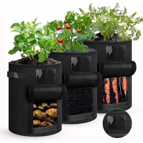 Sac à Plantes, Sacs de Plantation de Jardin, 7 Gallons Sac de Legumes, Tissu Non-tissé Sac de Plantation de Pommes de Terre à Fenêtre, Avec poignées,Réutilisables (3 PACK)