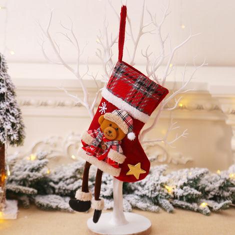 Sac cadeau de chaussettes de No?l, decoration de pendentif arbre de No?l