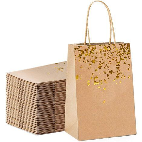 Sac Cadeau, Sac en Papier Kraft avec Poignée Recyclable pour Anniversaire Mariage Noël et Célébrations de Fête (20PCS)