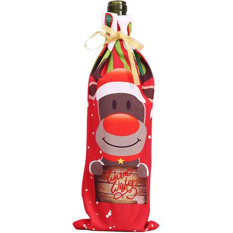 Sac de bouteille de vin, avec motif imprime Elk, decorations de No?l