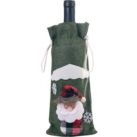 Sac de bouteille de vin de No?l, fournitures de decorations pour cadeaux de No?l, vert