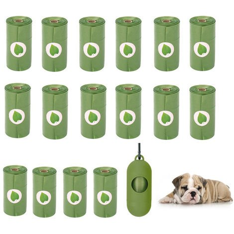 Sac De Chien Rolls Avec Merde Distributeur Chien Sac Poubelle Etanche 15 Pieces Degradables Doggy Bags Par Rouleau (16 Rouleaux), Vert