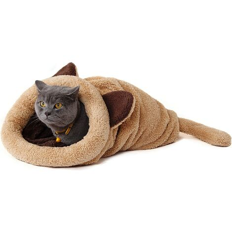 Sac de Couchage pour Chat Doux et Confortable, Corbeille pour Chat Niche Dôme Igloo 60 * 58cm
