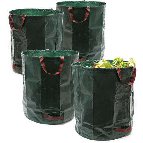 Sac de déchets de jardin 4 x Sac de jardin pour ordures Herbes Feuilles 272L PE