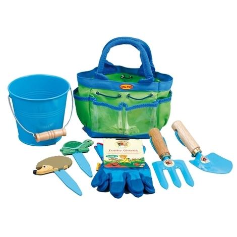 Sac de jardinage enfant 6 accessoires Vert/Bleu