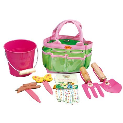 Sac de jardinage enfant 6 accessoires Vert/Rose