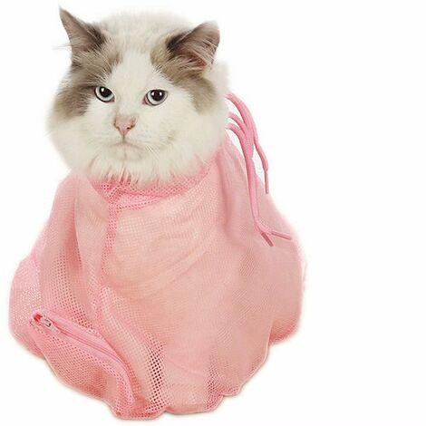 Sac de lavage pour chat propre et toiletté, sac de lavage anti-rayures pour chat, ongles coupés, sac de bain, fournitures pour chat, bleu
