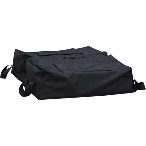 Sac de lestage de parasol avec poignées base socle de parasol dim. 50L x 50l x 18H cm à remplir de sable 50 Kg env. pelle incluse tissu oxford noir