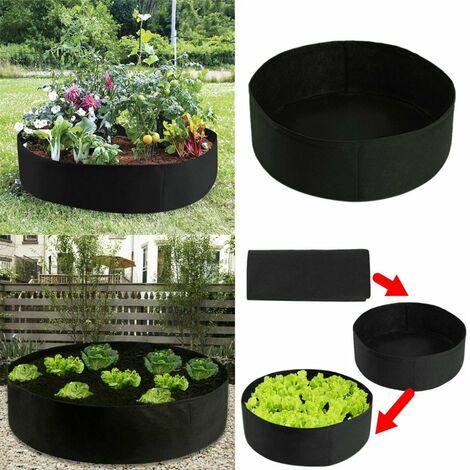 """main image of """"Sac de plantation en feutre 2020 jardin de fleurs rond sac de plantes nutritives sac de semis de legumes de jardin noir 90 * 30 cm"""""""