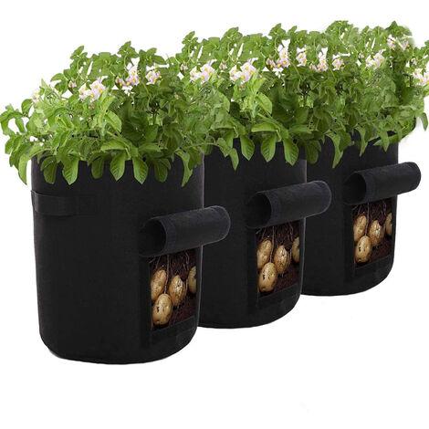 Sac de planteur de pommes de terre Pearl rare 7Gallon Sac de culture de plantes Sac de plantes en plastique pour pommes de terre, tomates, herbes, etc. Noir 3 pièces 30 * 35