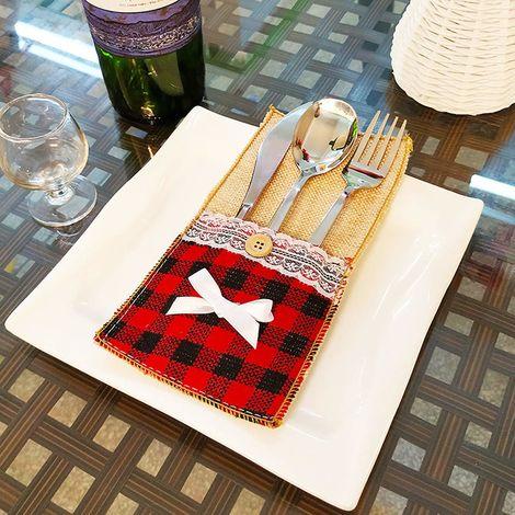 Sac de pochette de porte-couverts en toile de jute naturelle, 7 paquets 4.3x7.87 pouces Couteaux en dentelle Fourchettes Serviette Ustensile Porte-couverts pour la décoration de table de fête de mariage de Noël