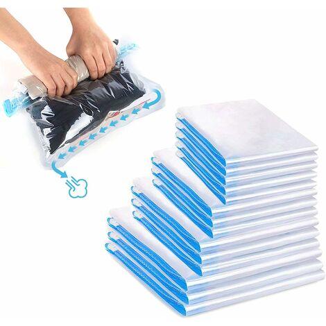 Sac de rangement, mon sac de voyage, mon sac de rangement sous vide, mon sac de rangement sous vide a une variété de tailles, peut être roulé vers l'avant, pas d'aspirateur, (35 * 50cm) 5 + (40 * 50cm) 3 pièces + (40 * 60 cm) 3 pièces + (50 * 70 cm) 3 piè