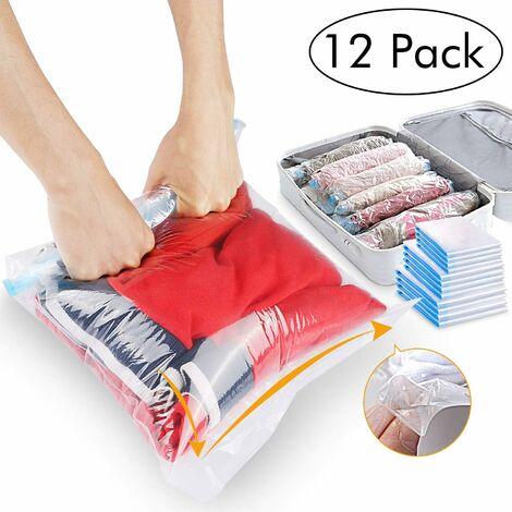 Sac de rangement, mon sac de voyage, mon sac de rangement sous vide, mon sac de rangement sous vide a une variété de tailles pouvant être roulées vers l'avant, pas d'aspirateur 12 pièces (40 * 60 cm) 8+ (50 * 70 cm) 4