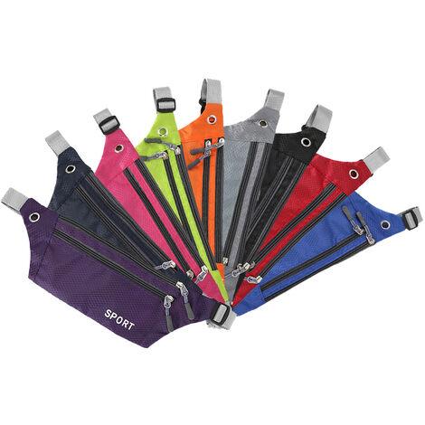 Sac De Sport En Nylon Impermeable Leger Exterieur, Sac De Ceinture De Grille De Couleur Unie, Violet