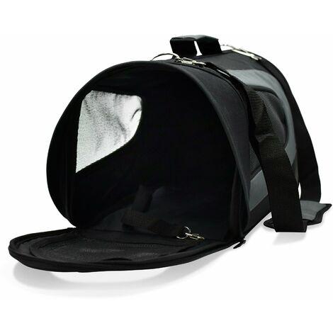 Sac de transport noir et gris pour petit chien et chat taille S. poignée et bandoulière. polyester