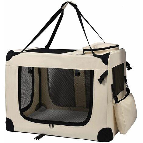 Sac De Transport Pliable Cage Souple Chat Chien Beige XL Petigi