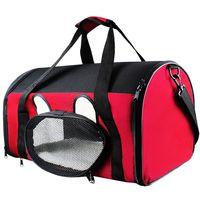 Sac de Transport pour Animaux, Sac pour Chats et Chiens, 50 x 31 x 29 cm, Rouge, Matériau: Polyester, Mesh material