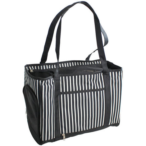 Sac de transport pour chiens et chats Yatek avec filet de protection intérieur et ouverture latérale noir et blanc.