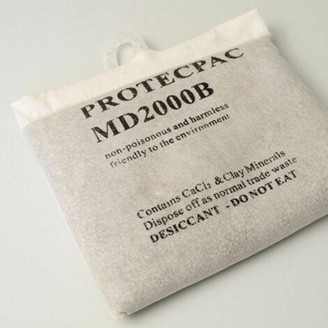 Sac Déshumidificateur 2Kg réutilisable | absorbe l'humidité en l'air | sachet en chlorure de calcium inodore petit discret | anti moisissure condensation odeurs de moisi améliore la qualité de l'air | idéal pour caves armoires débarras
