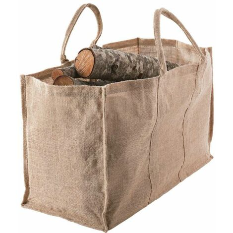 Sac porte bûches grand volume naturel