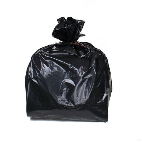 Sac poubelle 100 litres noir polyéthylène 82 x 87 cm - Lot de 20