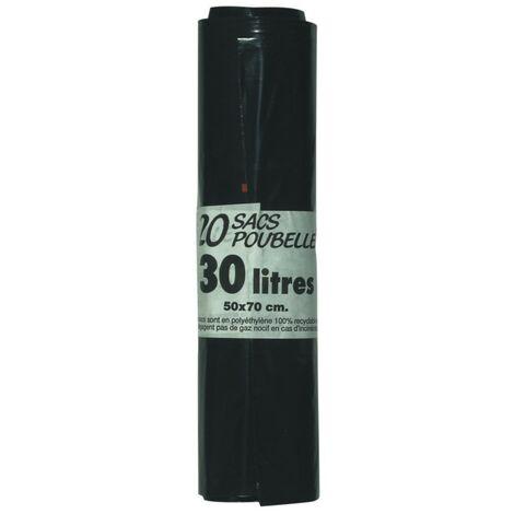 Sac poubelle 30L 30µm noir, rouleau de 20 sacs